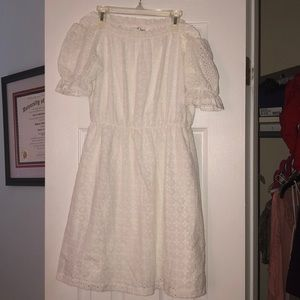 Pretty white eyelet off the shoulder dress